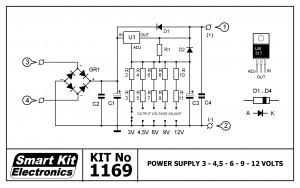 KIT No.1169 Τροφοδοτικό 3-4.5-6-9-12V/1.5A