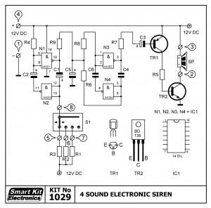KIT No.1029 Ηλεκτρονική Σειρήνα 4 ήχων