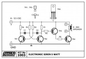 KIT No.1003 Ηλεκτρονική Σειρήνα 5 Watt
